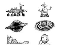 Space shuttle, black hole and galaxy, robot and mars, lunar rover, moonwalker and colony, astronaut exploration. Engraved hand drawn in old sketch, vintage Royalty Free Stock Image