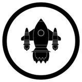 Space shuttle black icon. Spaceship symbol, emblem black rocket. Vector illustration royalty free illustration