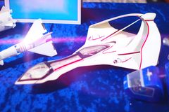 Space Shuttle on Blue Background. Space Shuttle Side View on Blue Background Stock Images