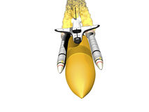 Space shuttle with booster on white background Royalty Free Stock Photo