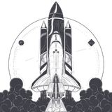 Space shuttle with carrier rockets launch vector. Space shuttle take-off with fire and smoke exhaust from engines engraved vector illustration on white Royalty Free Stock Photography