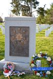 Space Shuttle Challenger memorial, Arlington National Cemetery. In Washington D.C. with floral wreath, flag and gifts Stock Photo
