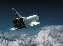 Space Shuttle In The Clouds. 3D Illustration royalty free illustration