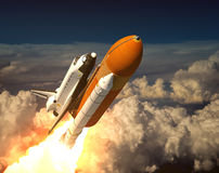 Space Shuttle In The Clouds. 3D Scene Stock Photos