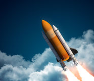 Space Shuttle In The Clouds Royalty Free Stock Photos