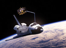 Space Shuttle Deploying Communication Satellite. 3D Illustration royalty free illustration