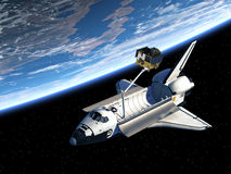Space Shuttle Deploying Satellite Royalty Free Stock Image