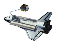 Space Shuttle Deploying Satellite Over White Background. 3D Illustration royalty free illustration