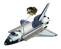 Space Shuttle Deploying Satellite On White Background Royalty Free Stock Image