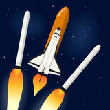 Space Shuttle Detaching Rocket Engines. A space shuttle flying over the clouds to explore the universe detaching the rocket engines, on a dark blue outer space vector illustration