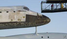 Space Shuttle Discovery. The Space Shuttle Discovery is piggyback on top of a NASA converted 747 for a trip to the Smithsonian. The space shuttle have been Stock Images
