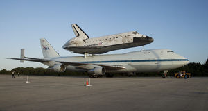 Space shuttle Discovery. The Space Shuttle Discovery is piggyback on top of a NASA converted 747 for a trip to the Smithsonian. The space shuttle have been Royalty Free Stock Image