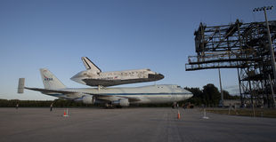Space shuttle Discovery. The Space Shuttle Discovery is piggyback on top of a NASA converted 747 for a trip to the Smithsonian. The space shuttle have been Royalty Free Stock Photography