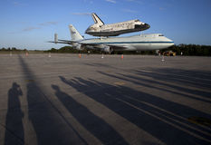 Space shuttle Discovery. The Space Shuttle Discovery is piggyback on top of a NASA converted 747 for a trip to the Smithsonian. The space shuttle have been Royalty Free Stock Images