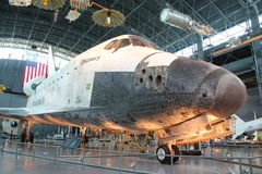Space Shuttle Discovery. CHANTILLY, VIRGINIA – SEPTEMBER 9: NASA's space shuttle Discovery on display at the Smithsonian National Air and Space Museum Steven F Stock Photos