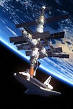 Space Shuttle Docking Space Station. 3D Scene vector illustration