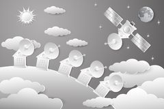Space shuttle. Drawing of a space house in white tones on a background of the sky with stars, the sun in the clouds. A parabolic antenna on a spaceship and an royalty free illustration