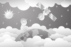 Space shuttle. Drawing of a space house in white tones on a background of the sky with stars, the sun in the clouds. A parabolic antenna on a spaceship and an stock illustration