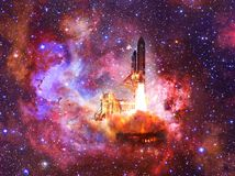 Space shuttle in space. Elements of this image furnished by NASA. royalty free illustration