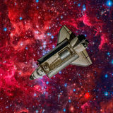 Space shuttle. Elements of this image furnished by NASA.  Royalty Free Stock Image
