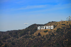The space shuttle Endeavour. Flies over the Hollywood sign during the final portion of its tour of California Stock Image