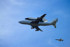 The space shuttle Endeavour. Flies over Southern California during the final portion of its tour of California Royalty Free Stock Photo