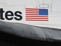 Space Shuttle Endeavour Flag Closeup. Up close shot of the space shuttle Endeavour's wing and American flag, during its retirement parade in Los Angeles Royalty Free Stock Photos