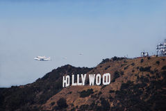 Space Shuttle Endeavour Over Hollywood. Space shuttle Endeavour on its farewell flight over Los Angeles Royalty Free Stock Photos