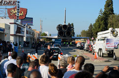 Space Shuttle Endeavour on streets of Los Angeles Royalty Free Stock Image
