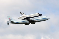 Space Shuttle Enterprise. Atop NASA's Boeing 747, taking off from Washington Dulles International Airport Stock Images