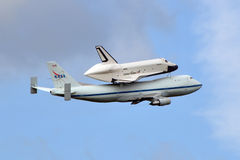 Space Shuttle Enterprise. Atop NASA's Boeing 747, taking off from Washington Dulles International Airport Stock Image