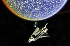 Space Shuttle Exploration Disaster. A Nasa Space Shuttle that has been critically damaged royalty free illustration