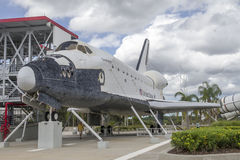 Space Shuttle Explorer. A full-scale, high-fidelity replica of the Space Shuttle at Kennedy Space Center on  Merritt Island, Florida. It was moved to Space Stock Photo
