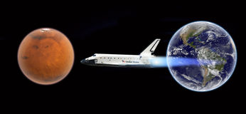 Space shuttle flight to mars - Elements of this image furnished by NASA. Space shuttle flying to planet Mars - concept photo Stock Photography