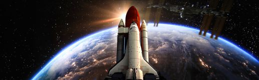 Space shuttle fly to the earth orbit Elements of this image furnished by NASA f. Space shuttle fly to the earth orbit Elements of this image furnished by NASA stock illustration