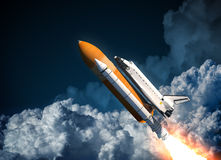 Space Shuttle Flying In The Clouds. 3D Scene vector illustration