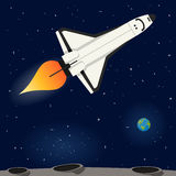 Space Shuttle Flying in the Outer Space. A space shuttle flying and exploring the universe, on a dark blue outer space background with the Moon, the planet Earth royalty free illustration