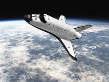 Space shuttle flying over earth. Space Shuttle leaving earth 3d render going left royalty free illustration