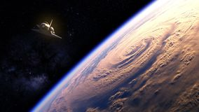 Space Shuttle Flying Over The Earth. American Space Shuttle Flying Over The Planet Earth. 3D Animation vector illustration