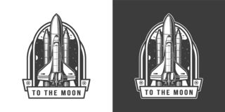 Space shuttle flying to moon emblem. In vintage monochrome style isolated vector illustration vector illustration