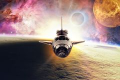 Space shuttle flying through space. Space shuttle flying through unexplored space planets stock illustration