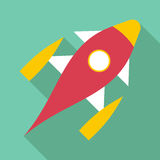 Space shuttle icon, flat style. Space shuttle icon. Flat illustration of space shuttle vector icon for web Stock Image