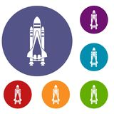 Space shuttle icons set. In flat circle reb, blue and green color for web royalty free illustration