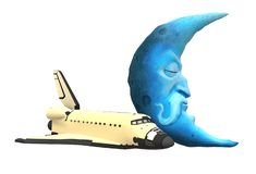 A space shuttle and a imaginary fantasy sleeping blue moon. A computer generated illustration image of a space shuttle plane and a imaginary fantasy sleeping royalty free illustration
