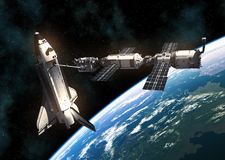 Space Shuttle And International Space Station On Background Of Planet Earth. 3D Illustration vector illustration