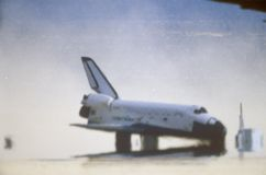 Space shuttle landing at Edwards Dry Lake, Edwards Air Force Base, CA Royalty Free Stock Image
