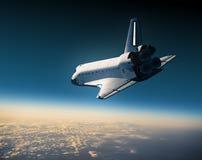 Space Shuttle Landing. Space Shuttle Flying In The Sky. 3D Scene Stock Photography