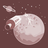 Space shuttle landing on moon royalty free illustration