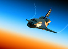 Space Shuttle Landing. In Stratosphere. 3D Scene Royalty Free Stock Photos