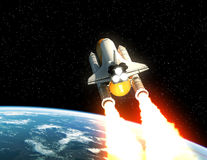 Space Shuttle Launch Above The Planet Earth. 3D Illustration stock illustration